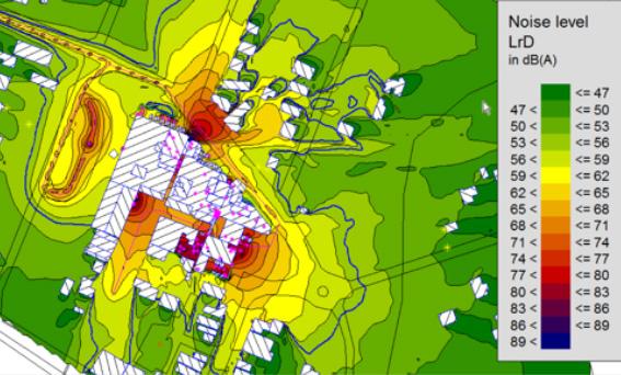 Colour-coded noise modelling contour map